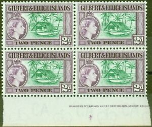 Gilbert & Ellice Is 1962 2d Bluish Green & Purple SG66a V.F MNH Imprint Block...