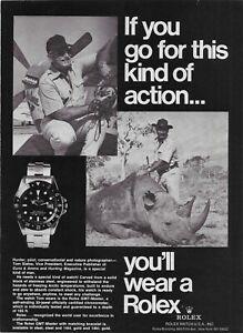 1984 Rolex GMT-Master If You Hunted Rhinoceros Rhino Watch Vintage  Print Ad