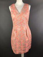 Miss Selfridge Size 12 Pink Silver Tapestry Style Sheath Dress Metallic Party