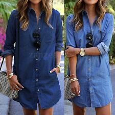 AU Women Long Sleeve Loose Tunic Top Button Down T-Shirt Mini Short Denim Dress