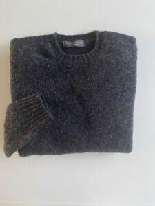 Gents Shetland Wool Dark Grey Sweater, Saddle Shoulder,  made in Scotland