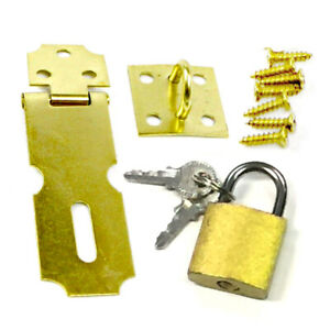 "2.5"" Brass Door Latch Metal Hasp W Small Padlock Keys + Screws Set Gate Cabinets"