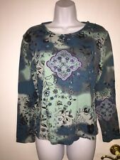 Ladies Embellished Long Sleeve Sequined Top Size Medium By A/C