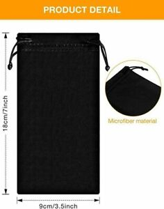 BLACK MICROFIBER SUNGLASSES EYEGLASSES GLASSES PROTECTIVE CLEANING POUCH BAG