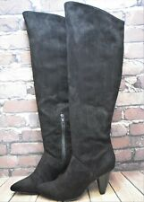 Womens River Island Black Faux Suede High Heel Knee High Boots Size UK 34 EUR 37