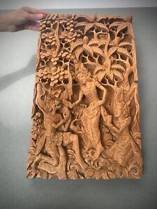 VINTAGE BALINESE CARVED WOODEN PANEL. LARGER, HINDU MYTHOLOGICAL EPIC POEM SCENE