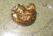 Vintage tortoise shell Cat leopard resin Netsuke pendant 925 Silver Chain Japan