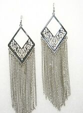 "LONG SILVER SHOULDER DUSTER CHANDELIER CHAIN DROP EARRINGS! - MEGA 6"" LONG!!"