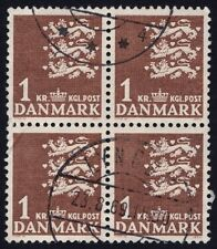 /DENMARK Coat of Arms 1Kr Block4 - USED / 2x creased @E800