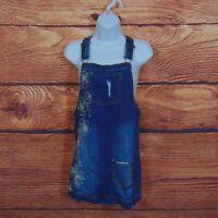 Lucky Brand womens denim bib overall skirt size large blue short cotton blend