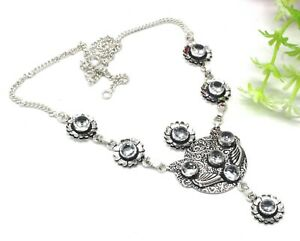 "925 Sterling Silver White Topaz Gemstone Handmade Jewelry Necklace Size-17-18"""