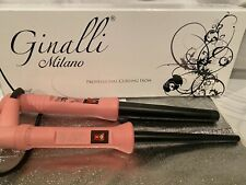 CURLING IRON Wand Ginalli Milano Set 2 Pink Cone Conico CERAMIC 1/2 & 1 inch