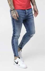Sik Silk Mens Stonewash Blue Designer Skinny Low Rise Cartel Stretch Denim Jeans