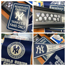 Lot 4 New York Yankees Fan Items World Series Banner, Art, Pennant, Parking Sign