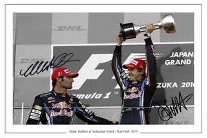 MARK WEBBER & SEBASTIAN VETTEL RED BULL  SIGNED PHOTO PRINT FORMULA ONE F1
