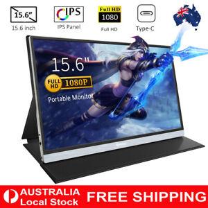 "Portable Monitor 15.6"" IPS Screen Display 1080P FHD USB Type-C HDMI Speaker AU"