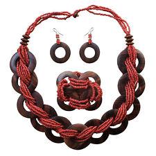 Stretch Earring Set Bib Drape Handmade Wood Red Seed Necklace Bracelet