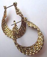 boucles d'oreilles percées rétro anneaux relief bijou vintage couleur or  2683