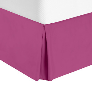 """Hotel Luxury Pleated Tailored Bed Skirt - 14"""" Drop Dust Ruffle, Queen - Magenta"""
