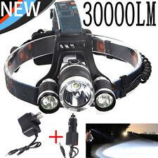 30000LM XM-L T6 LED 18650 Power Headlamp Headlight Flashlight+2PCS Chargers