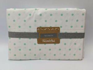 The Land of Nod Little Green Circles Twin Sheet Set 36 x 76 x 12 Inch White