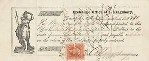 1871 CASSAPOLIS, MIHIGAN   EXCHANGE OFFICE OF A. KINGSBURY     VIGNETTE
