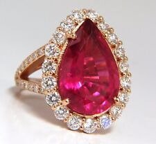 GIA Certified 14.15ct natural red tourmaline diamonds ring 18kt Rubellite