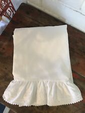 Vintage Ralph Lauren Chaumont Bromley Eyelet Lace White FLAT Sheet FULL