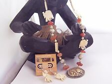 Necklace Set Matching Earrings Elephant Pendant Beaded Buffalo Bone   # 601