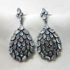 Diamond Moonstone Jewelry 925 Sterling Silver Vintage Inspired Dangle Earrings