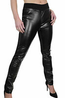 NEW (1482) Ladies Plus Size Faux Leather Look & Spandex Trousers Black 12-26
