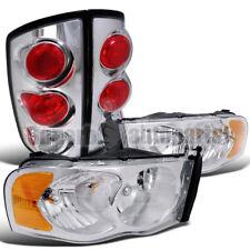 2002-2005 Dodge Ram Chrome Crystal Headlights+Tail Brake Lights