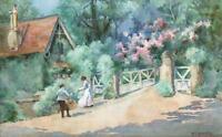 MARY ELLEN HAWARD Antique Watercolour Painting FIGURES & COTTAGE LANDSCAPE c1920