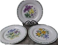 """Thomson Pottery Floral Garden Set Of 3 Dinner Plates 3 Different Designs 10.5"""""""