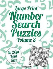 Large Print Number Search Puzzles Volume 3 : 100 Number Search Puzzles in...