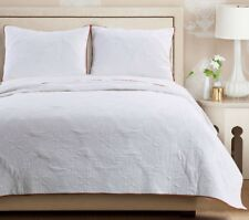 3pc CAMEO WHISPER WHITE Queen Quilted Coverlet Set Medallion French Country
