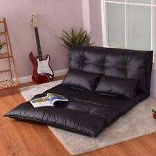 Modern Foldable PU Leather Leisure Floor Sofa Bed with 2 Pillows