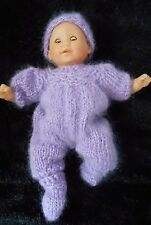 "Doll Clothes Hand-knit Lilac-Lavender Mohair Jumpsuit Fits 11"" to 13"" Dolls"