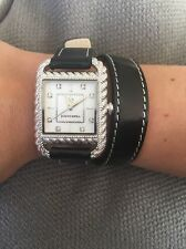 Authentic JUDITH RIPKA  Double Wrap Black New Leather Strap Watch -$173 RETAIL
