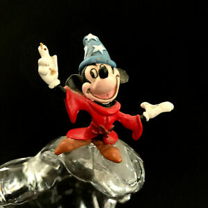 "Disney Mickey Mouse Sorcerer Fantasia Glass Statue Figurine On Wave Austria 6"""