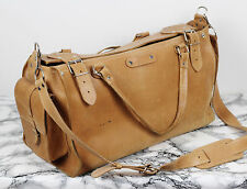 Vintage Rugged Tan Brown Leather Holdall Satchel XL Shoulder Weekend Bag