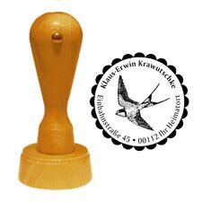 Stempel « SCHWALBE » Adressenstempel Motiv Vogel Singvogel Herbst Zugvögel