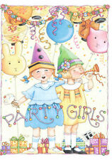 Mary Engelbreit-Party Girls Presents Hats-Happy Birthday Greeting Card-New!