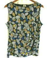 NWT Anne Klein Women's Black Leaf Sleeveless Scoop Neck Blouse Large