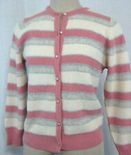 Vintage 80s Cardigan Sweater Size M Wool Angora Pink White Metallic Striped