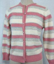 Vintage 80s Cardigan Sweater Size M Wool Angora Pink White Metallic Striped