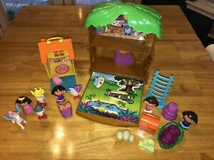 16 pc LOT Dora the Explorer Let's Go Adventure TREE HOUSE Playset + extras, EUC