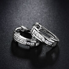 Classic Silver White Gold Filled Channel Diamond Huggies Women Banquet Earrings