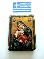 Handmade Wooden Greek Christian Orthodox Wood Icon Virgin Mary & Jesus Christ A0