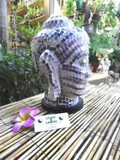 Mosaic Buddha Head Table Lamp (purple & white tiles)